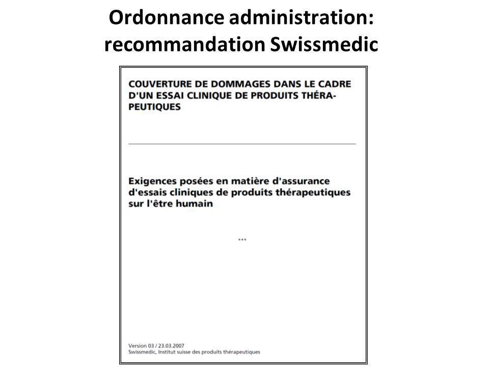 Ordonnance administration: recommandation Swissmedic