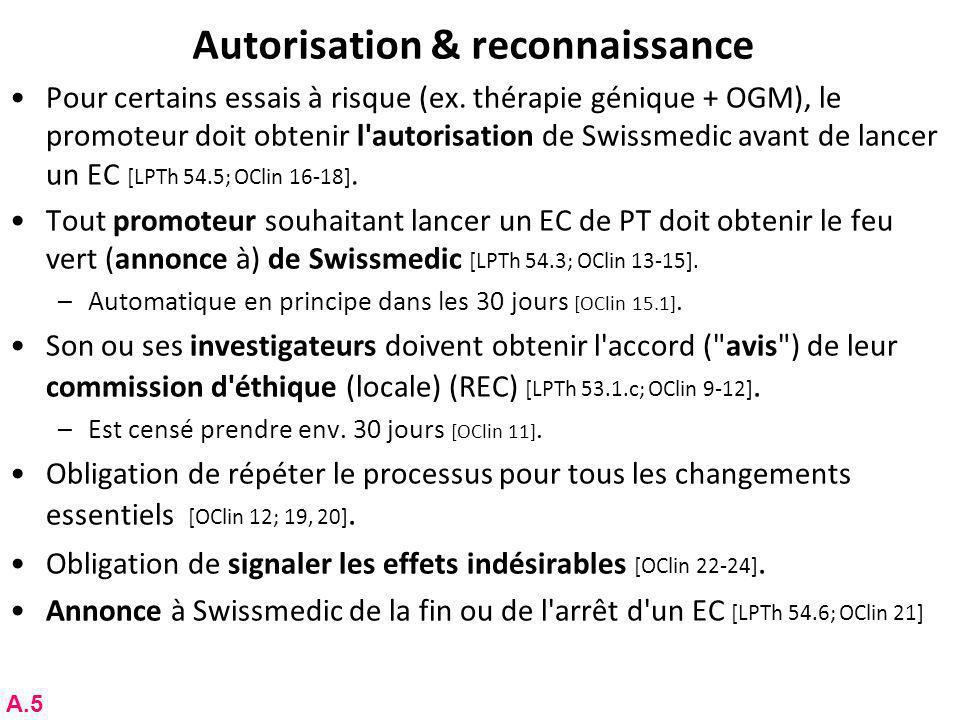 Autorisation & reconnaissance Pour certains essais à risque (ex.