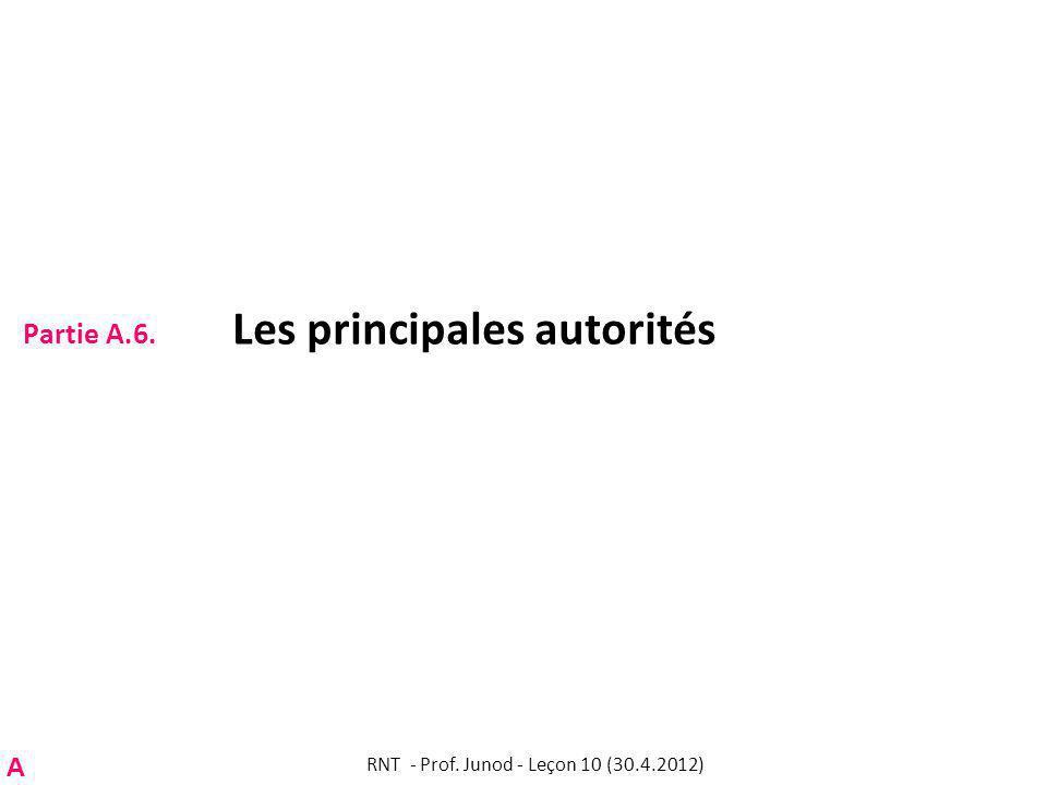 Partie A.6. Les principales autorités RNT - Prof. Junod - Leçon 10 (30.4.2012) A