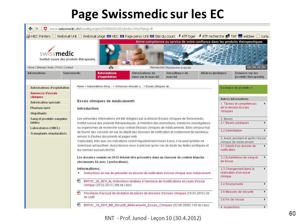 Page Swissmedic sur les EC RNT - Prof. Junod - Leçon 10 (30.4.2012) 60