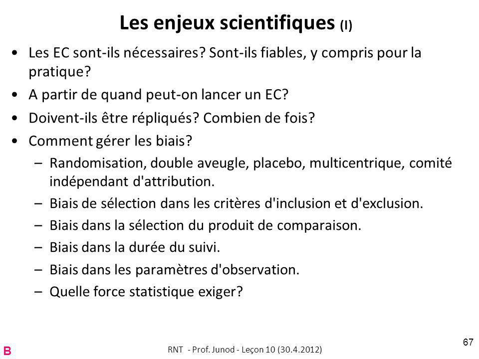 Les enjeux scientifiques (I) Les EC sont-ils nécessaires.