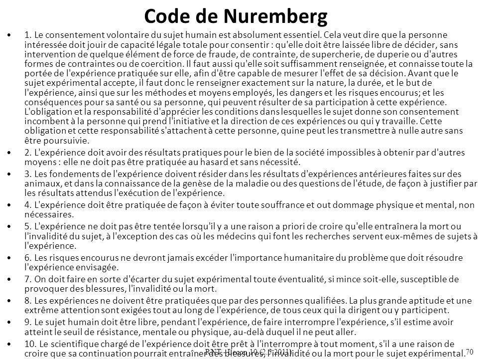 RNT - Leçon 10 (2.5.2011)70 Code de Nuremberg 1.