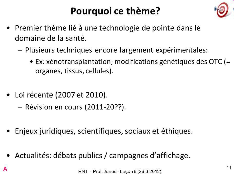 RNT - Prof. Junod - Leçon 6 (26.3.2012) 11 Pourquoi ce thème.