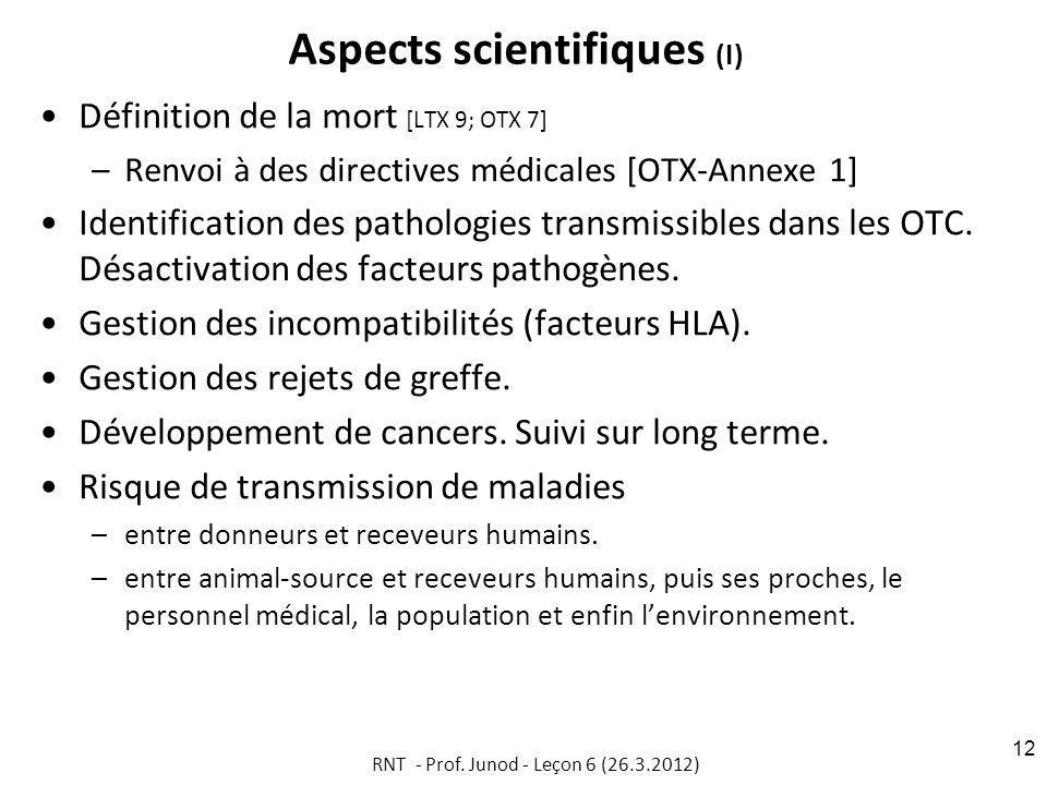 Aspects scientifiques (I) Définition de la mort [LTX 9; OTX 7] –Renvoi à des directives médicales [OTX-Annexe 1] Identification des pathologies transmissibles dans les OTC.