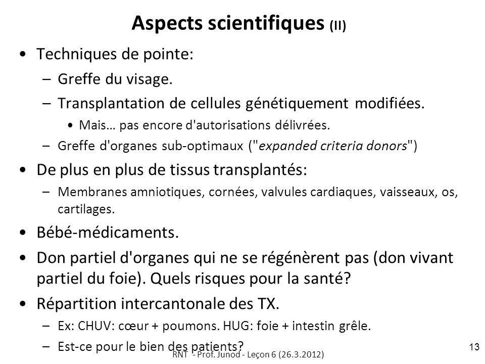 Aspects scientifiques (II) Techniques de pointe: –Greffe du visage.