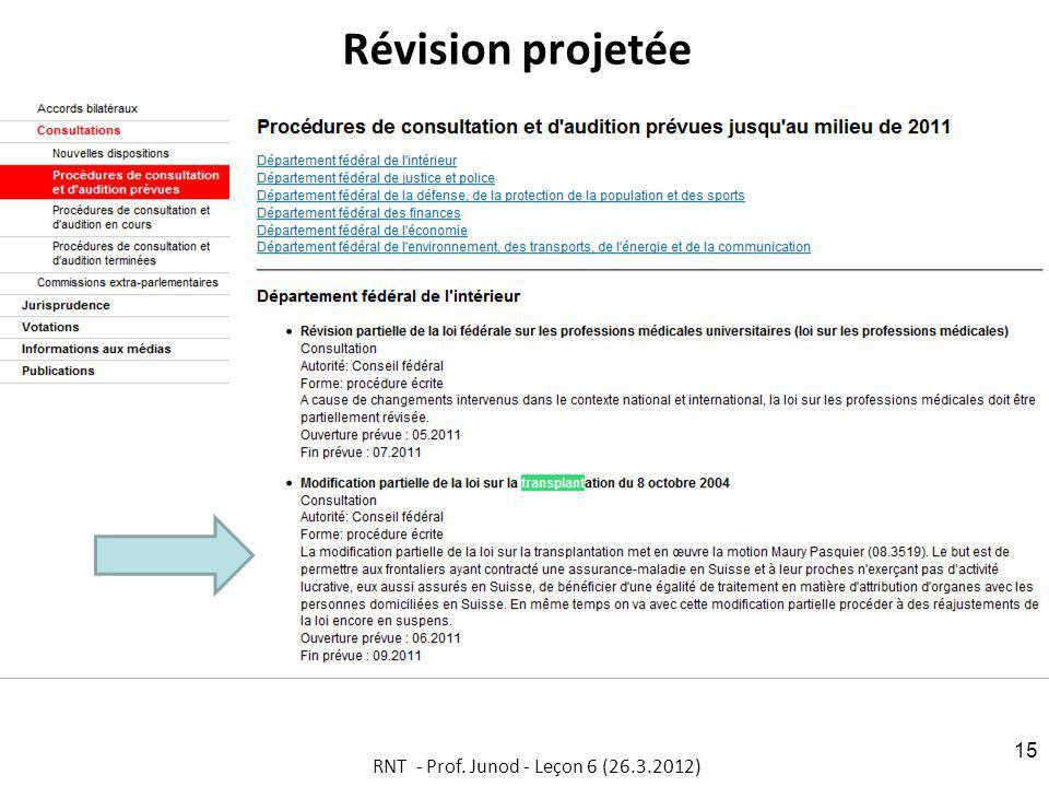 Révision projetée RNT - Prof. Junod - Leçon 6 (26.3.2012) 15