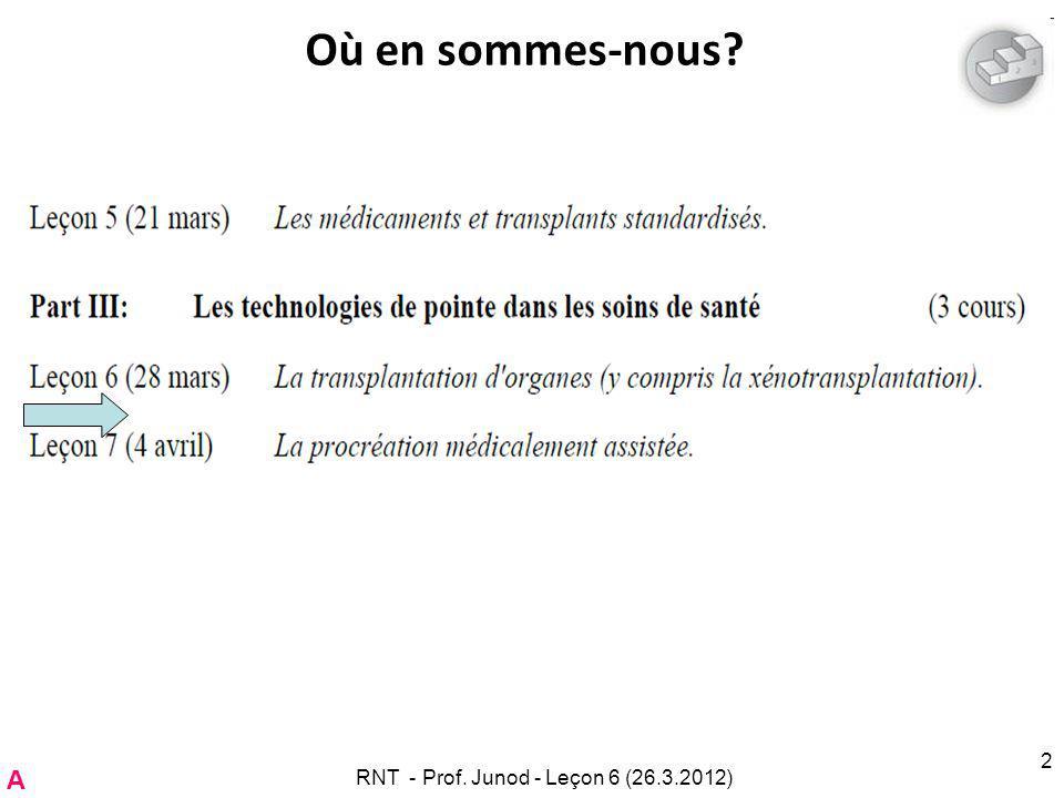 RNT - Prof. Junod - Leçon 6 (26.3.2012) 2 Où en sommes-nous A