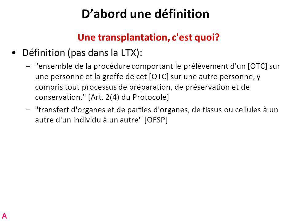 Dabord une définition Une transplantation, c est quoi.