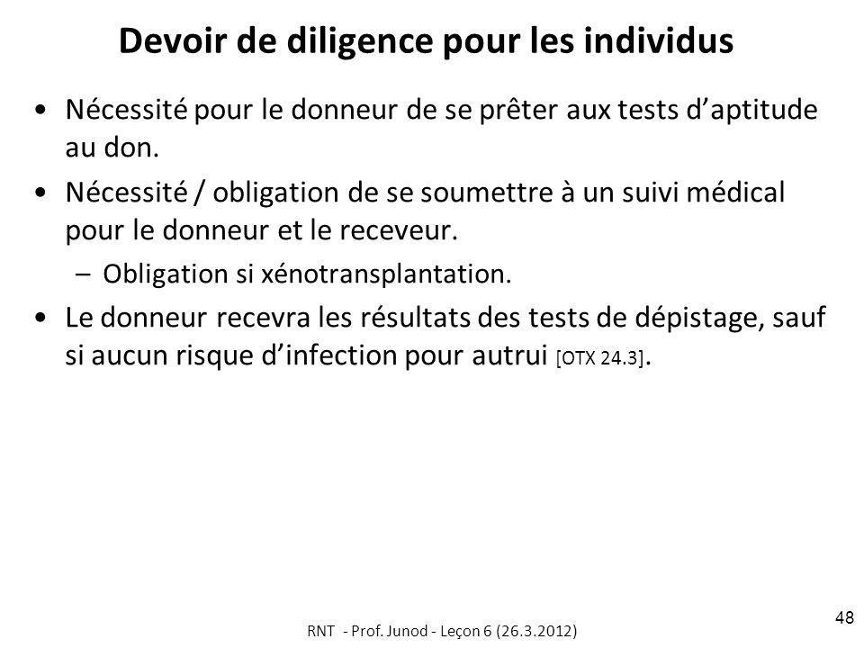 Devoir de diligence pour les individus Nécessité pour le donneur de se prêter aux tests daptitude au don.