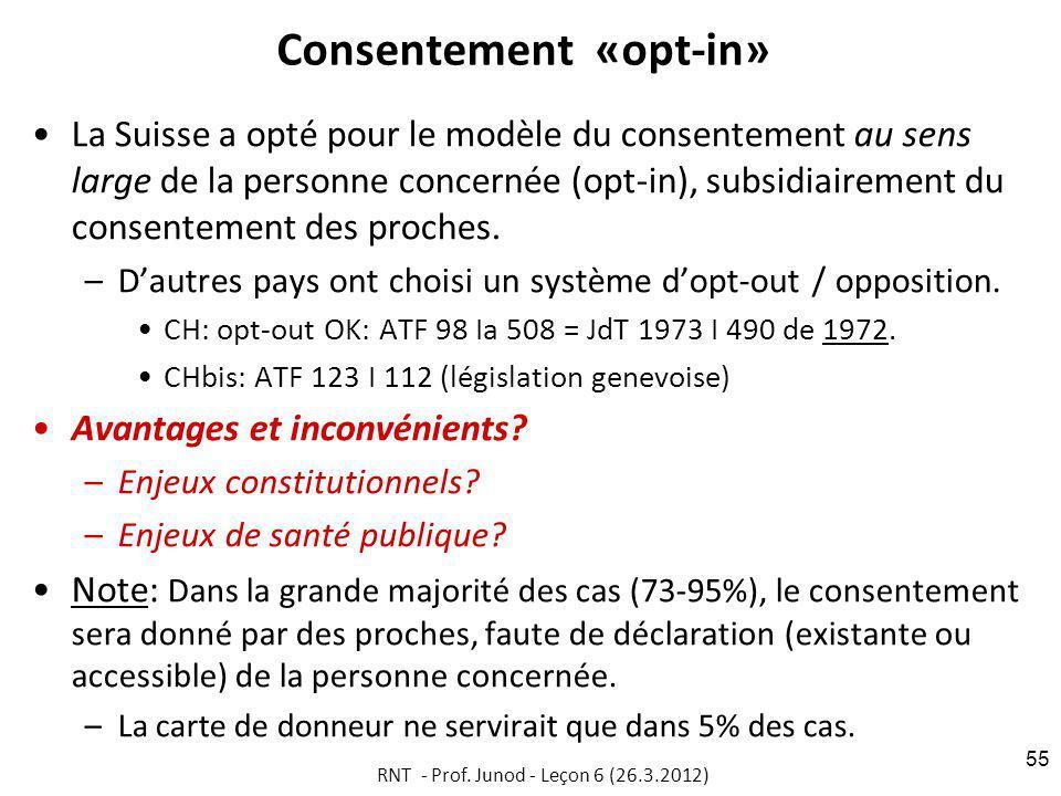 Consentement «opt-in» La Suisse a opté pour le modèle du consentement au sens large de la personne concernée (opt-in), subsidiairement du consentement des proches.
