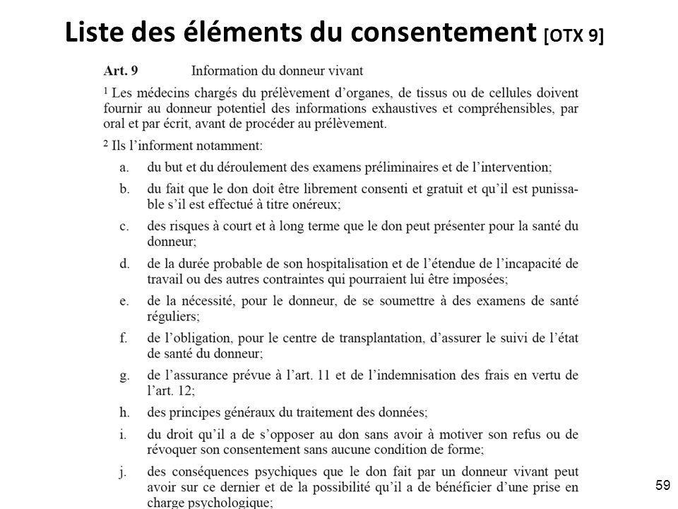 Liste des éléments du consentement [OTX 9] RNT - Prof. Junod - Leçon 6 (26.3.2012) 59
