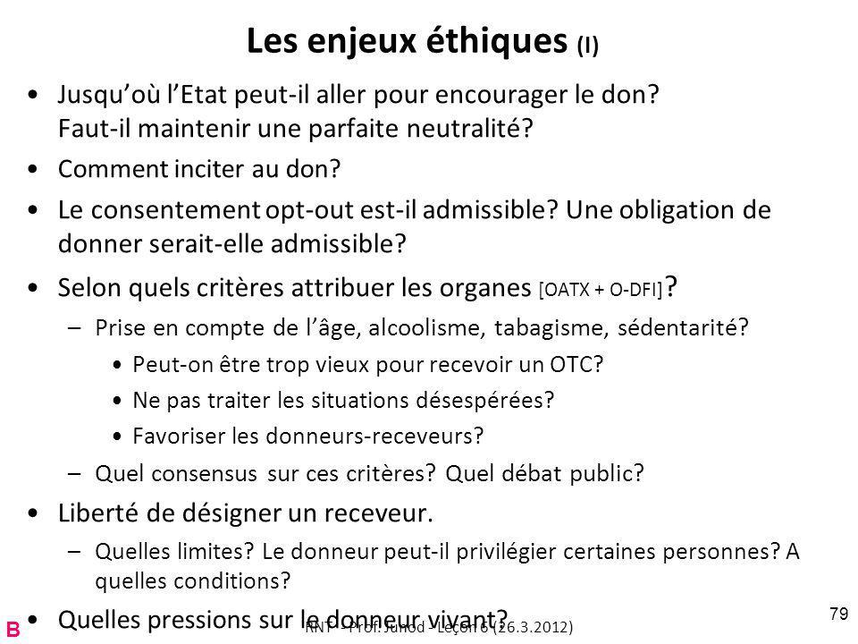 Les enjeux éthiques (I) Jusquoù lEtat peut-il aller pour encourager le don.