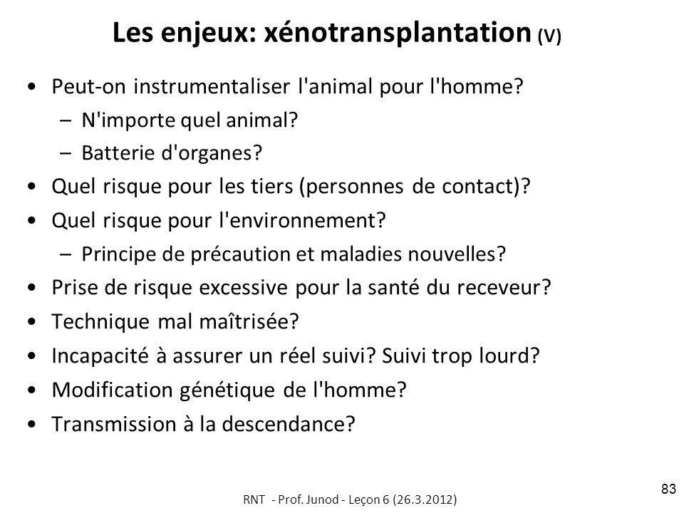 Les enjeux: xénotransplantation (V) Peut-on instrumentaliser l animal pour l homme.