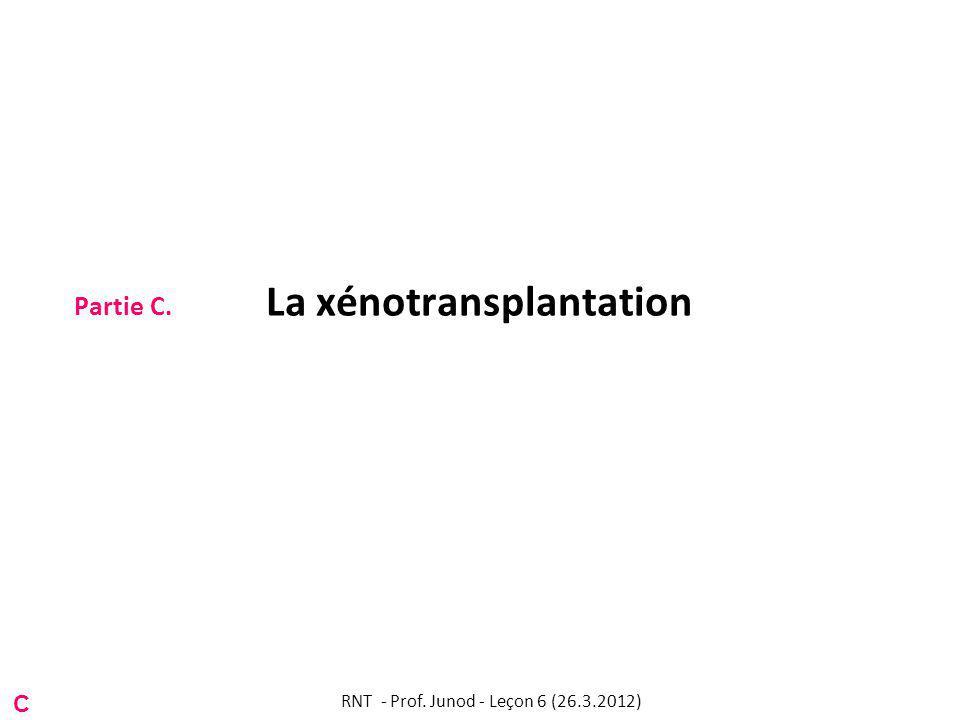 Partie C. La xénotransplantation C RNT - Prof. Junod - Leçon 6 (26.3.2012)