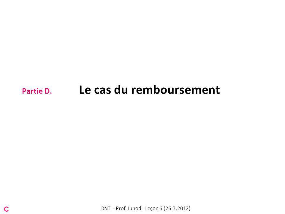Partie D. Le cas du remboursement C RNT - Prof. Junod - Leçon 6 (26.3.2012)