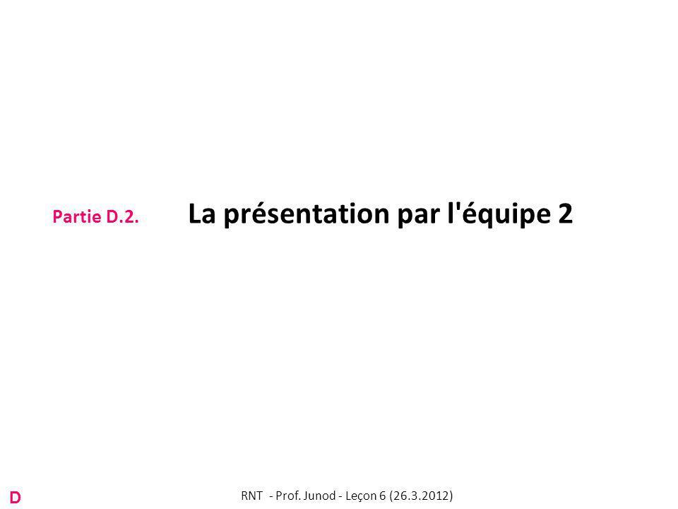 Partie D.2. La présentation par l équipe 2 RNT - Prof. Junod - Leçon 6 (26.3.2012) D
