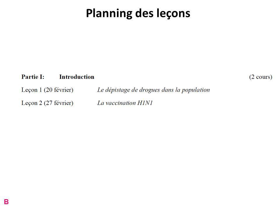 Planning des leçons B