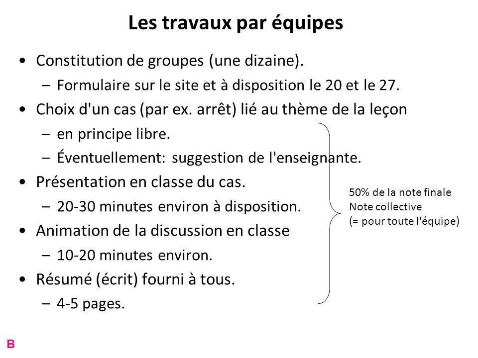 Les travaux par équipes Constitution de groupes (une dizaine).