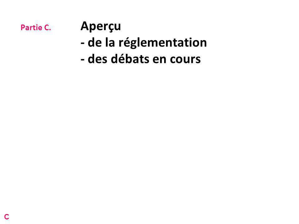 Partie C. Aperçu - de la réglementation - des débats en cours C