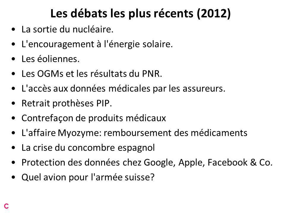Les débats les plus récents (2012) La sortie du nucléaire.
