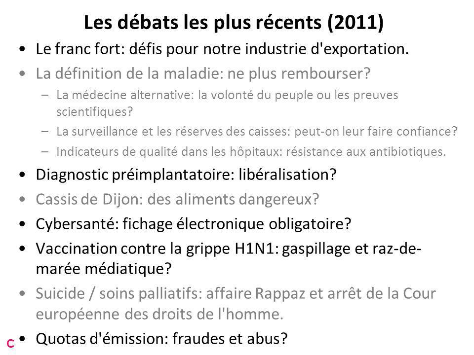Les débats les plus récents (2011) Le franc fort: défis pour notre industrie d exportation.