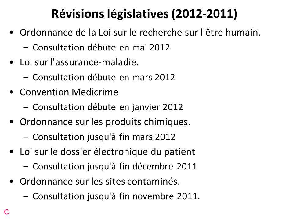 Révisions législatives (2012-2011) Ordonnance de la Loi sur le recherche sur l être humain.