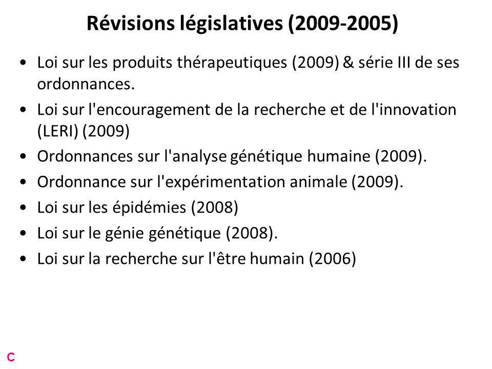 Révisions législatives (2009-2005) Loi sur les produits thérapeutiques (2009) & série III de ses ordonnances.