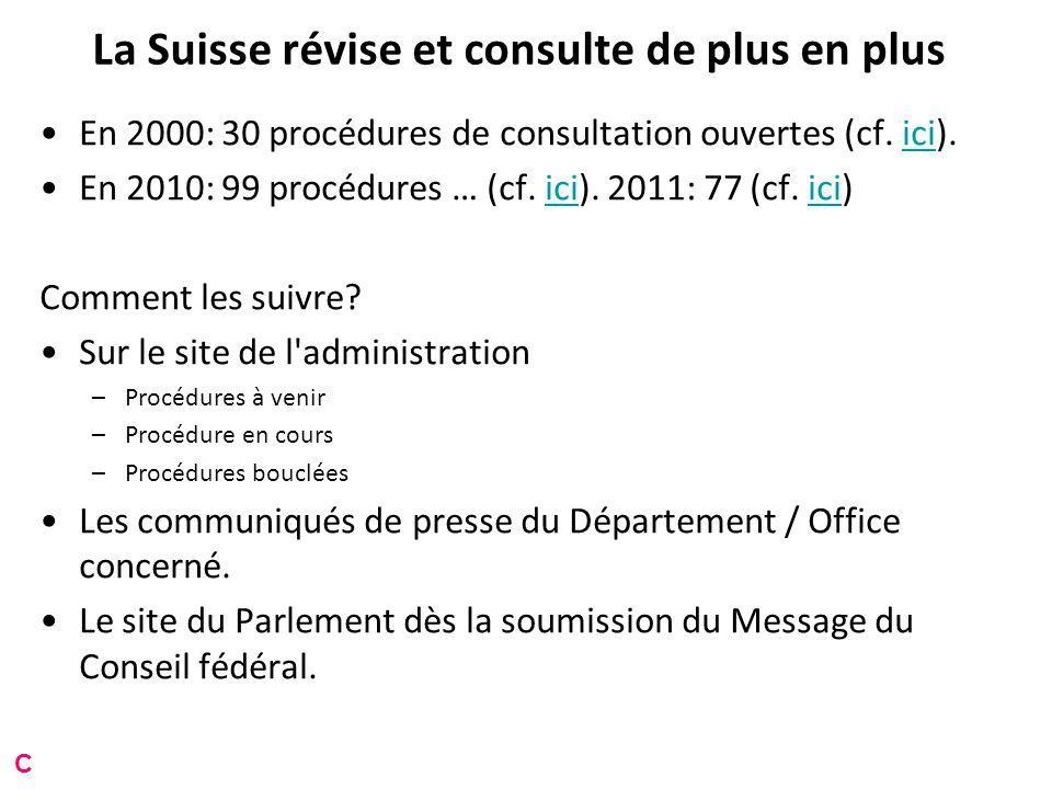 La Suisse révise et consulte de plus en plus En 2000: 30 procédures de consultation ouvertes (cf.