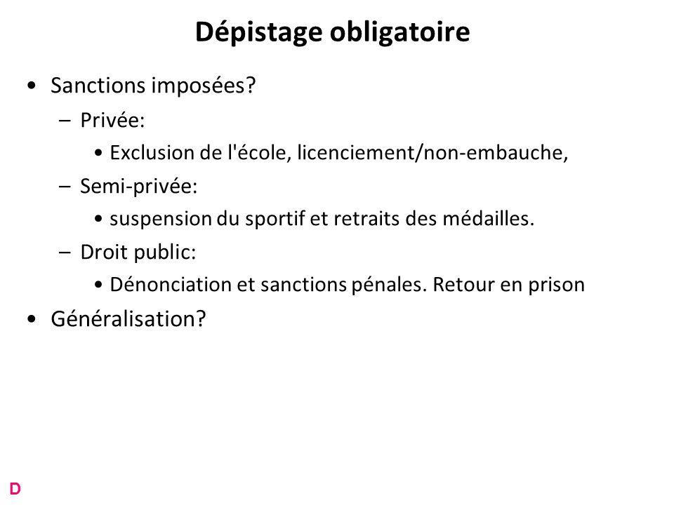Dépistage obligatoire Sanctions imposées.