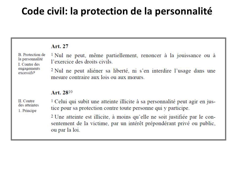 Code civil: la protection de la personnalité