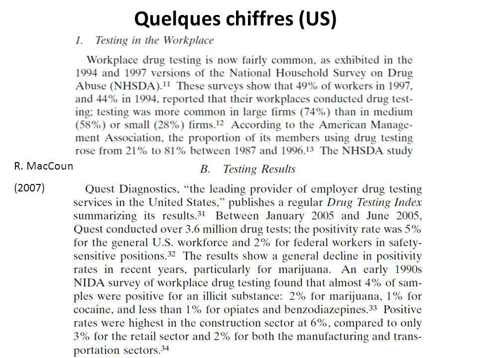 Quelques chiffres (US) R. MacCoun (2007)
