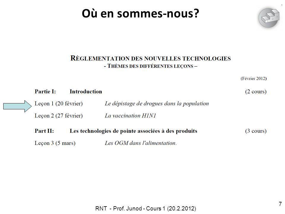 RNT - Prof. Junod - Cours 1 (20.2.2012) 7 Où en sommes-nous