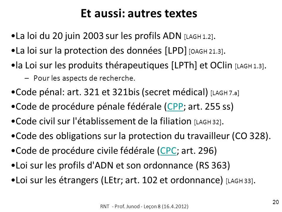 Et aussi: autres textes La loi du 20 juin 2003 sur les profils ADN [LAGH 1.2]. La loi sur la protection des données [LPD] [OAGH 21.3]. la Loi sur les