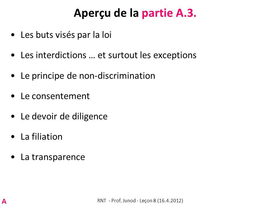 Aperçu de la partie A.3. Les buts visés par la loi Les interdictions … et surtout les exceptions Le principe de non-discrimination Le consentement Le