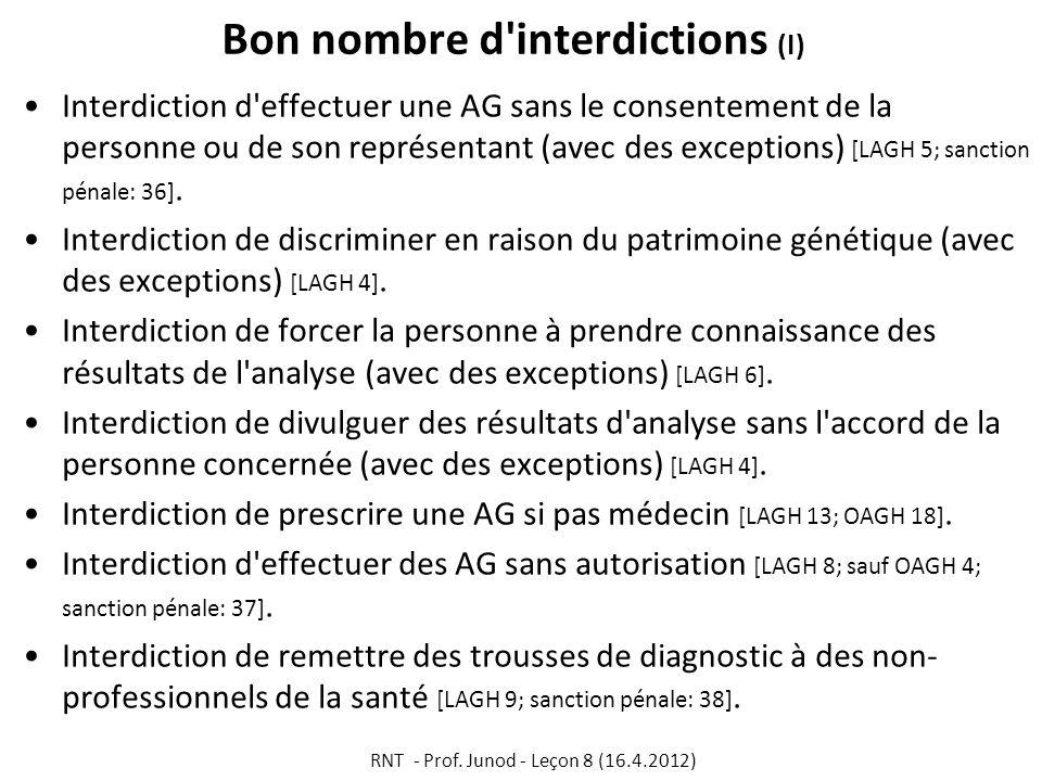 Bon nombre d'interdictions (I) Interdiction d'effectuer une AG sans le consentement de la personne ou de son représentant (avec des exceptions) [LAGH