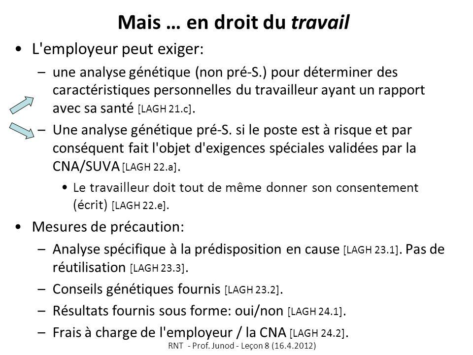 Mais … en droit du travail L'employeur peut exiger: –une analyse génétique (non pré-S.) pour déterminer des caractéristiques personnelles du travaille