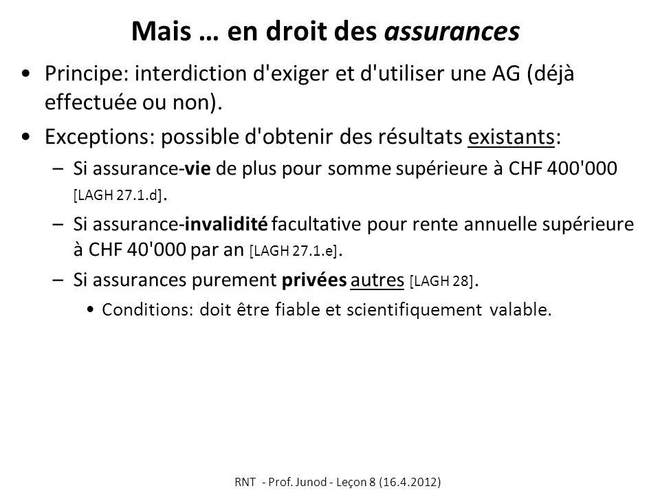 Mais … en droit des assurances Principe: interdiction d'exiger et d'utiliser une AG (déjà effectuée ou non). Exceptions: possible d'obtenir des résult