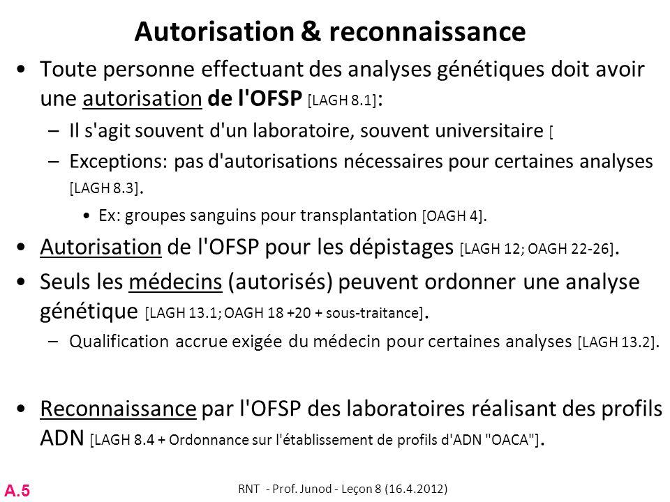 Autorisation & reconnaissance Toute personne effectuant des analyses génétiques doit avoir une autorisation de l'OFSP [LAGH 8.1] : –Il s'agit souvent