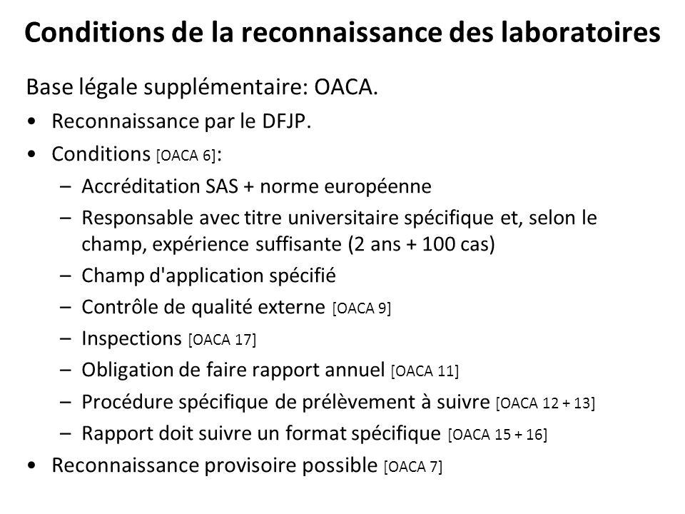 Conditions de la reconnaissance des laboratoires Base légale supplémentaire: OACA. Reconnaissance par le DFJP. Conditions [OACA 6] : –Accréditation SA