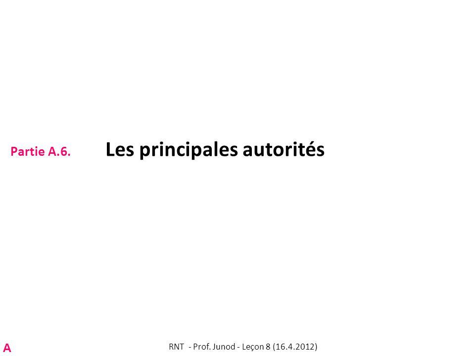 Partie A.6. Les principales autorités RNT - Prof. Junod - Leçon 8 (16.4.2012) A