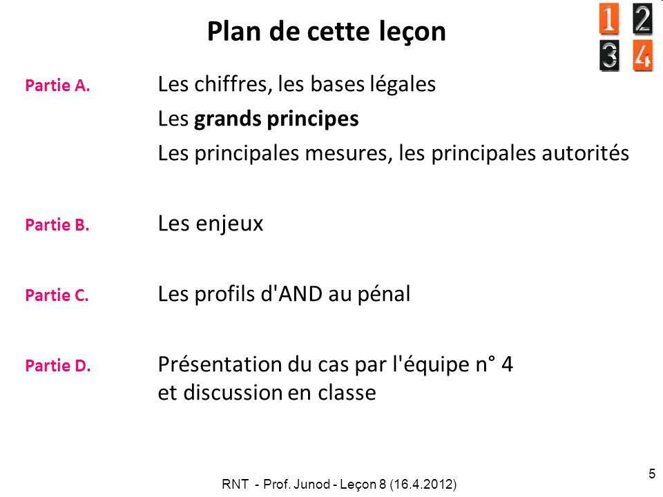 RNT - Prof. Junod - Leçon 8 (16.4.2012) 5 Plan de cette leçon Partie A. Les chiffres, les bases légales Les grands principes Les principales mesures,
