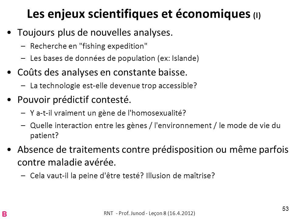 Les enjeux scientifiques et économiques (I) Toujours plus de nouvelles analyses. –Recherche en