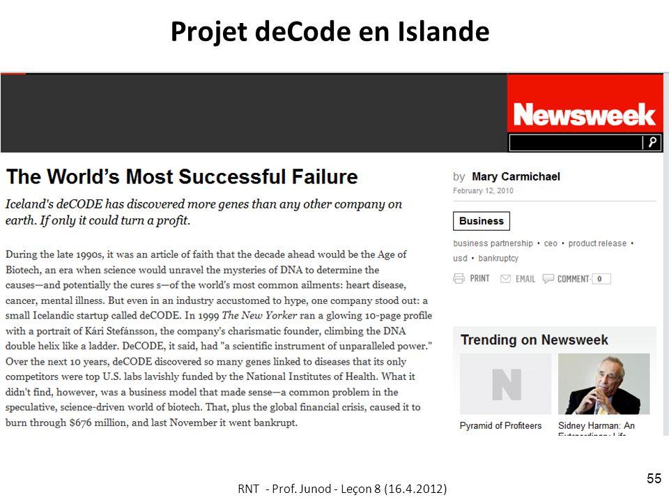 Projet deCode en Islande RNT - Prof. Junod - Leçon 8 (16.4.2012) 55