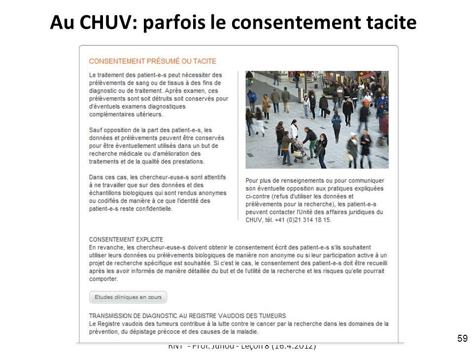 Au CHUV: parfois le consentement tacite RNT - Prof. Junod - Leçon 8 (16.4.2012) 59