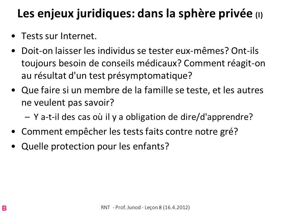 Les enjeux juridiques: dans la sphère privée (I) Tests sur Internet. Doit-on laisser les individus se tester eux-mêmes? Ont-ils toujours besoin de con