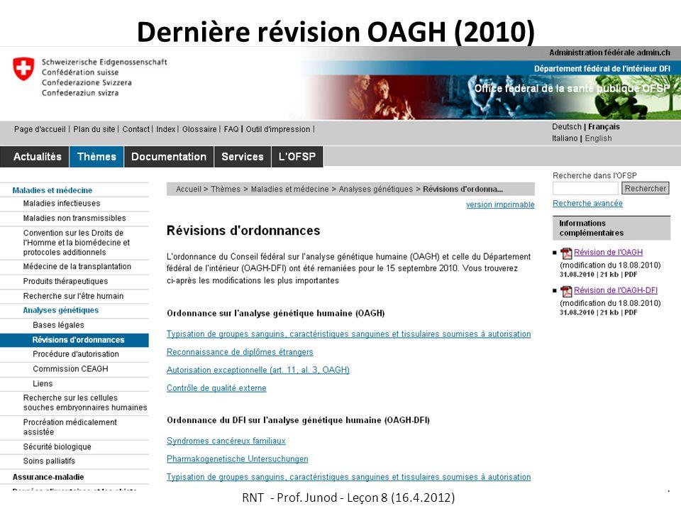 Dernière révision OAGH (2010) RNT - Prof. Junod - Leçon 8 (16.4.2012) 7