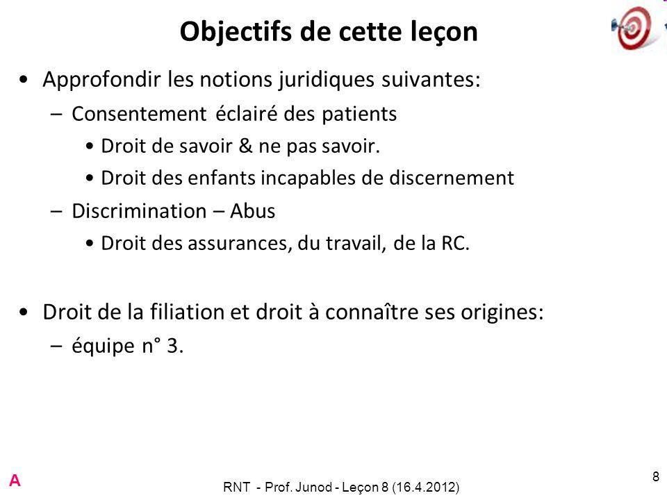 8 Objectifs de cette leçon Approfondir les notions juridiques suivantes: –Consentement éclairé des patients Droit de savoir & ne pas savoir. Droit des