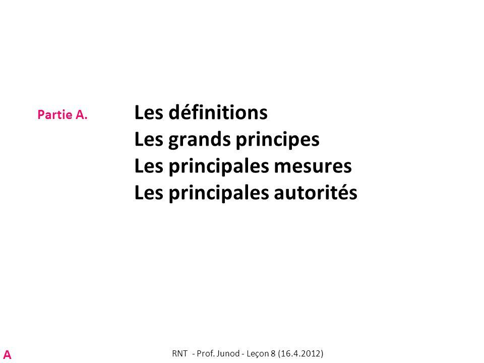 Partie A. Les définitions Les grands principes Les principales mesures Les principales autorités RNT - Prof. Junod - Leçon 8 (16.4.2012) A