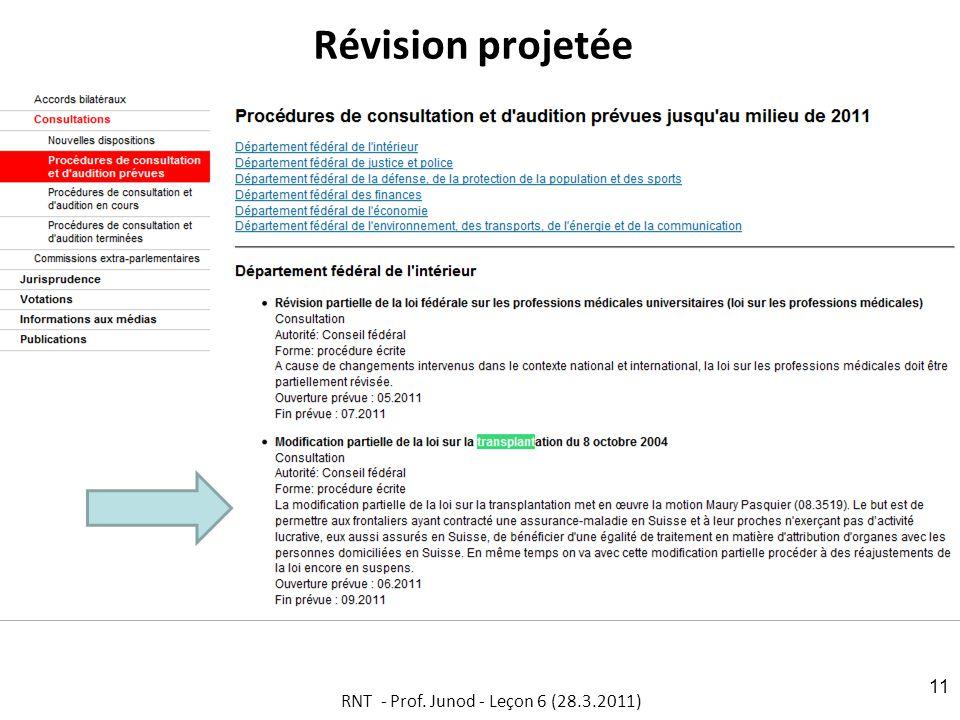 Révision projetée RNT - Prof. Junod - Leçon 6 (28.3.2011) 11