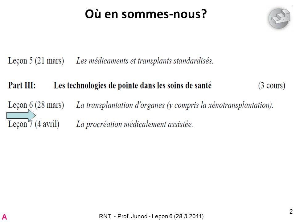 RNT - Prof. Junod - Leçon 6 (28.3.2011) 2 Où en sommes-nous? A